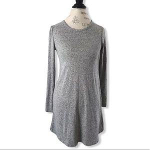 OLIVIA RAE Long Sleeve Rounded Hem Soft Grey Dress